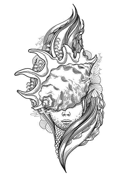 graphic mermaid head - mermaid tattoos stock illustrations, clip art, cartoons, & icons