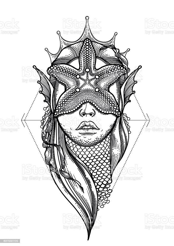 Graphic mermaid head - ilustración de arte vectorial