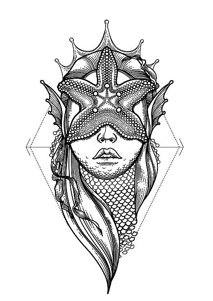 illustrations, cliparts, dessins animés et icônes de graphic mermaid head - tatouages de sirène