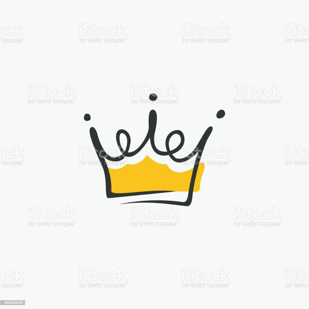 Élément moderniste graphique dessiné à la main. Couronne royale d'or. Isolé sur fond blanc. Illustration vectorielle - clipart vectoriel de A la mode libre de droits