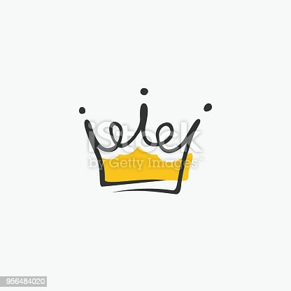 istock Graphic modernist element drawn by hand. royal crown of gold. Isolated on white background. Vector illustration 956484020