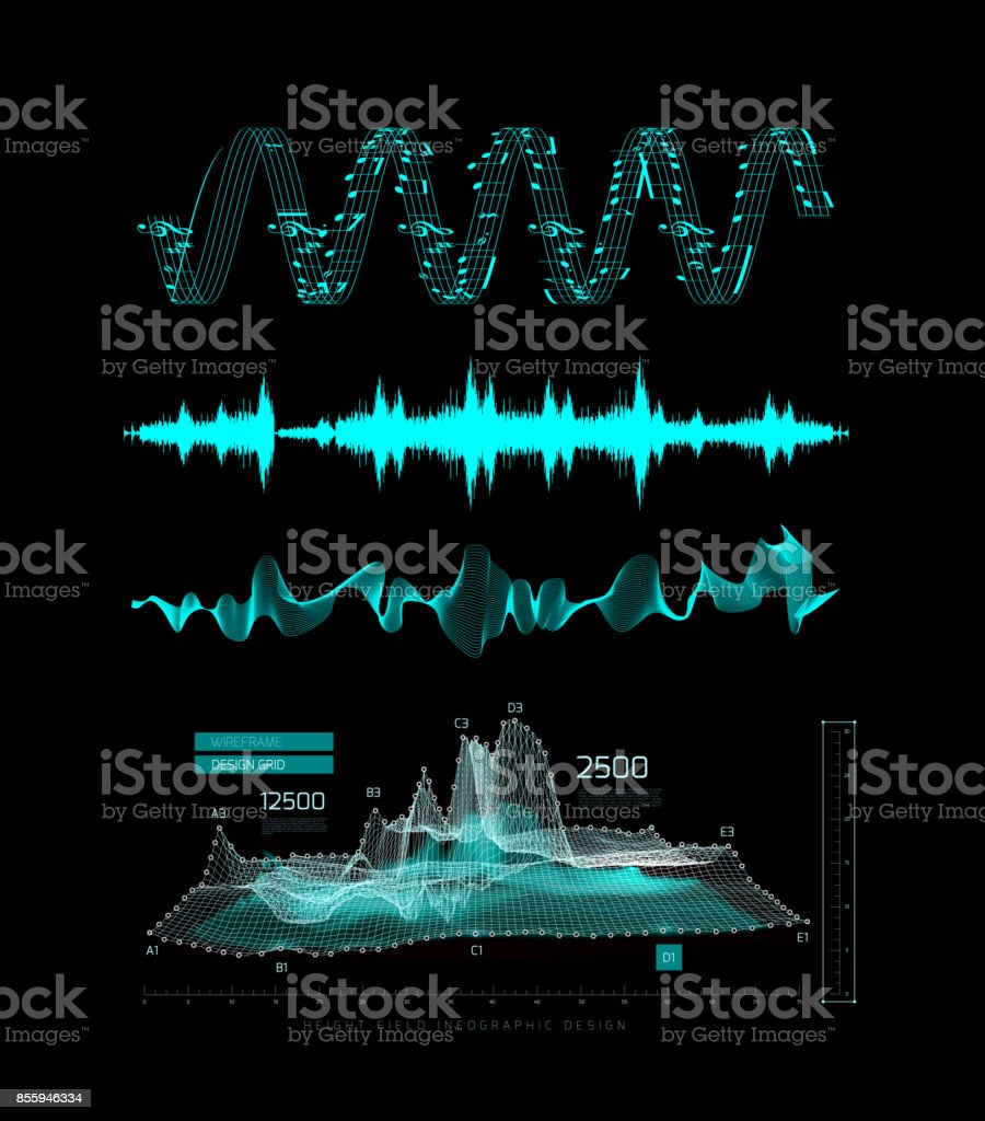 Graphic musical equalizer, sound waves, on a black background vector art illustration