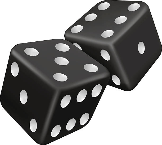 Graphic of 2 black and white dice Vector illustration of two black dice backgammon stock illustrations