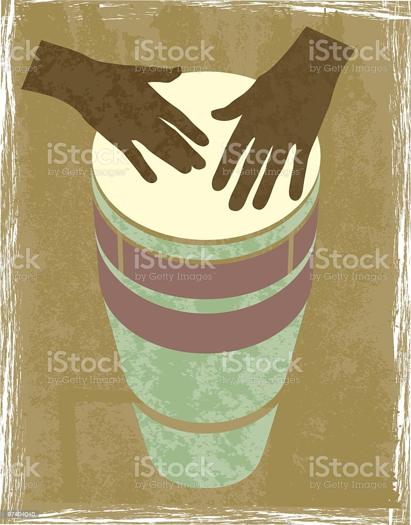 A graphic of 2 brown hands banging a drum vector art illustration