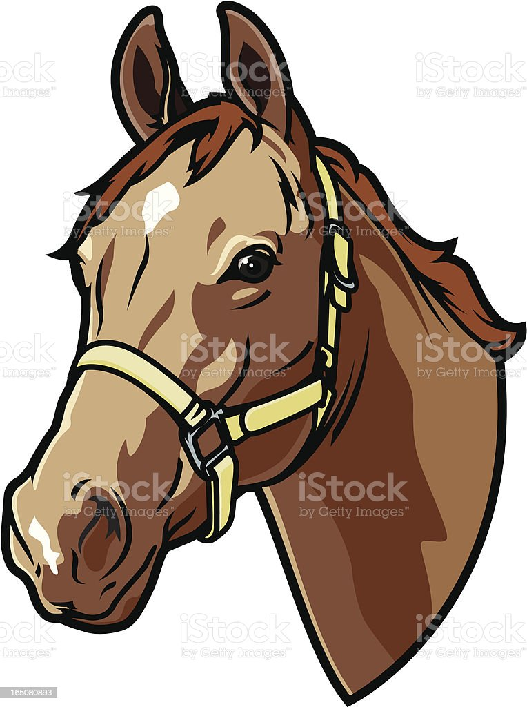 A graphic of a bridled horse head royalty-free stock vector art