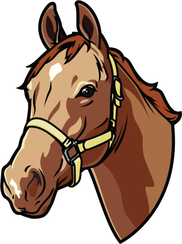A graphic of a bridled horse head