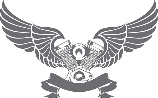 A graphic of a engine attached to wings and a ribbon