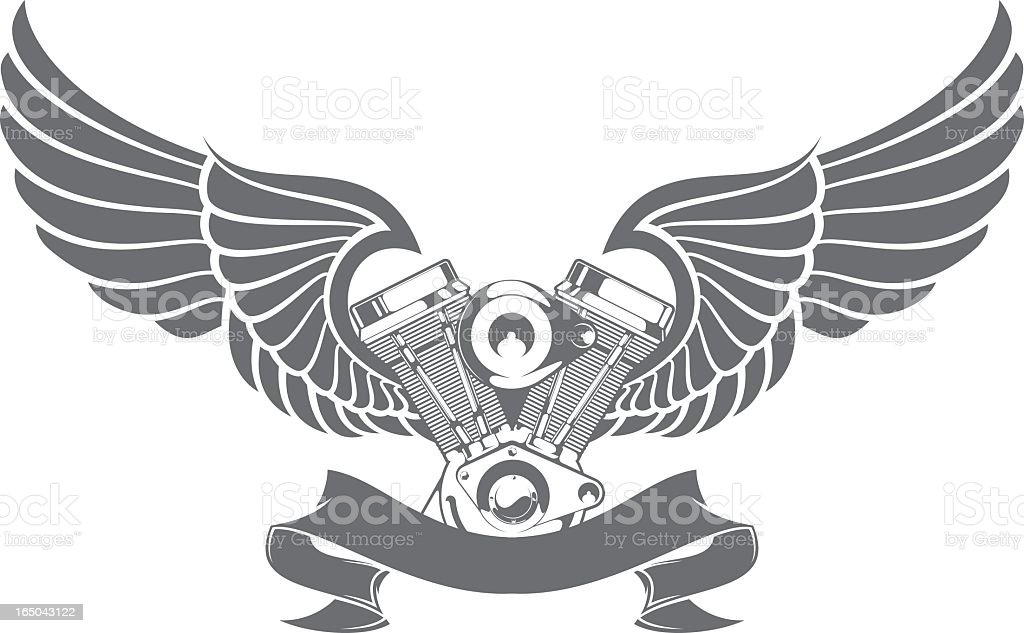 A graphic of a engine attached to wings and a ribbon vector art illustration