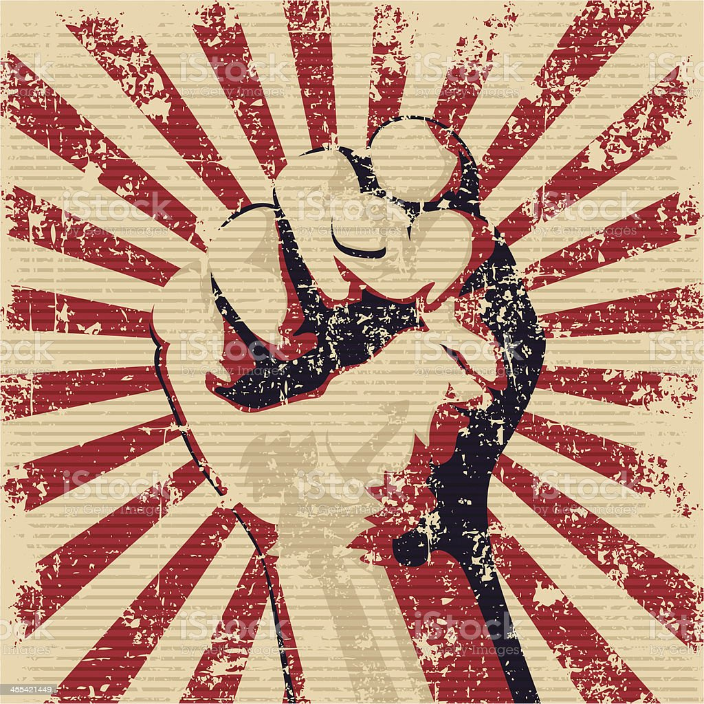 Graphic of a faded red and black fist vector art illustration