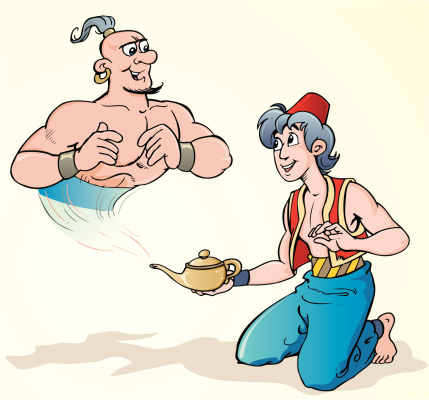 A graphic of a genie and a magic lamp