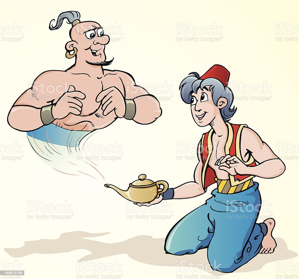 A graphic of a genie and a magic lamp vector art illustration