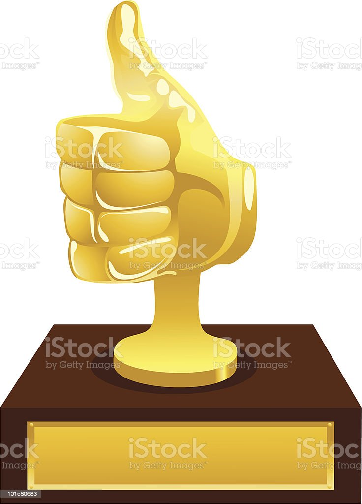 A graphic of a gold award trophy with thumbs up royalty-free stock vector art