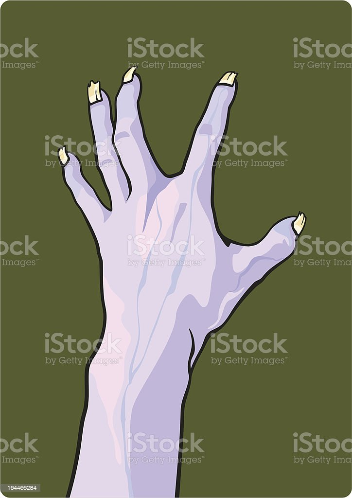 Graphic of a gray monster hand on an olive green background royalty-free stock vector art