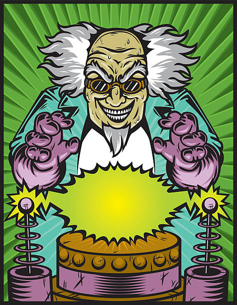 Graphic of a mad scientist with tesla coils vector art illustration