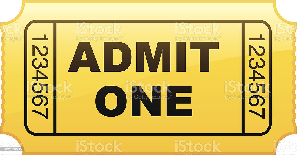 Graphic of a simple yellow admit one ticket from a roll vector art illustration