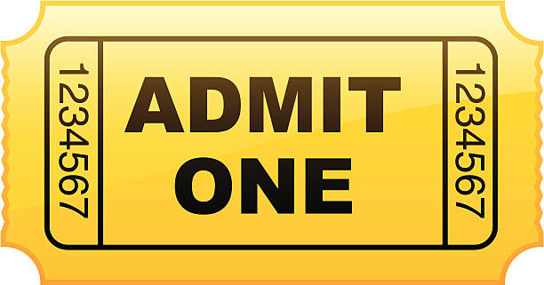 Graphic of a simple yellow admit one ticket from a roll Behold the golden ticket! admit one stock illustrations