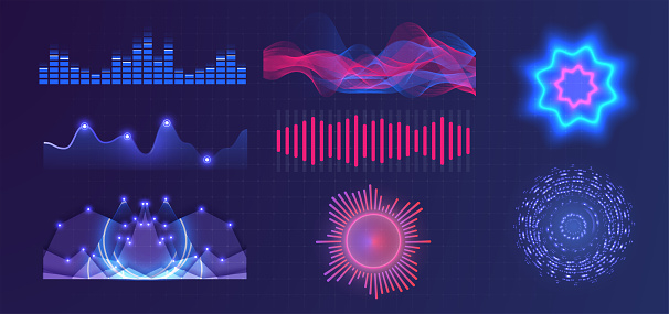 Graphic of amplitude or audio range effect. Chart of sound wave isolated on blue background. Sound waves equalizer. Frequency audio waveform, music wave, voice graph signal in futuristic style. Vector