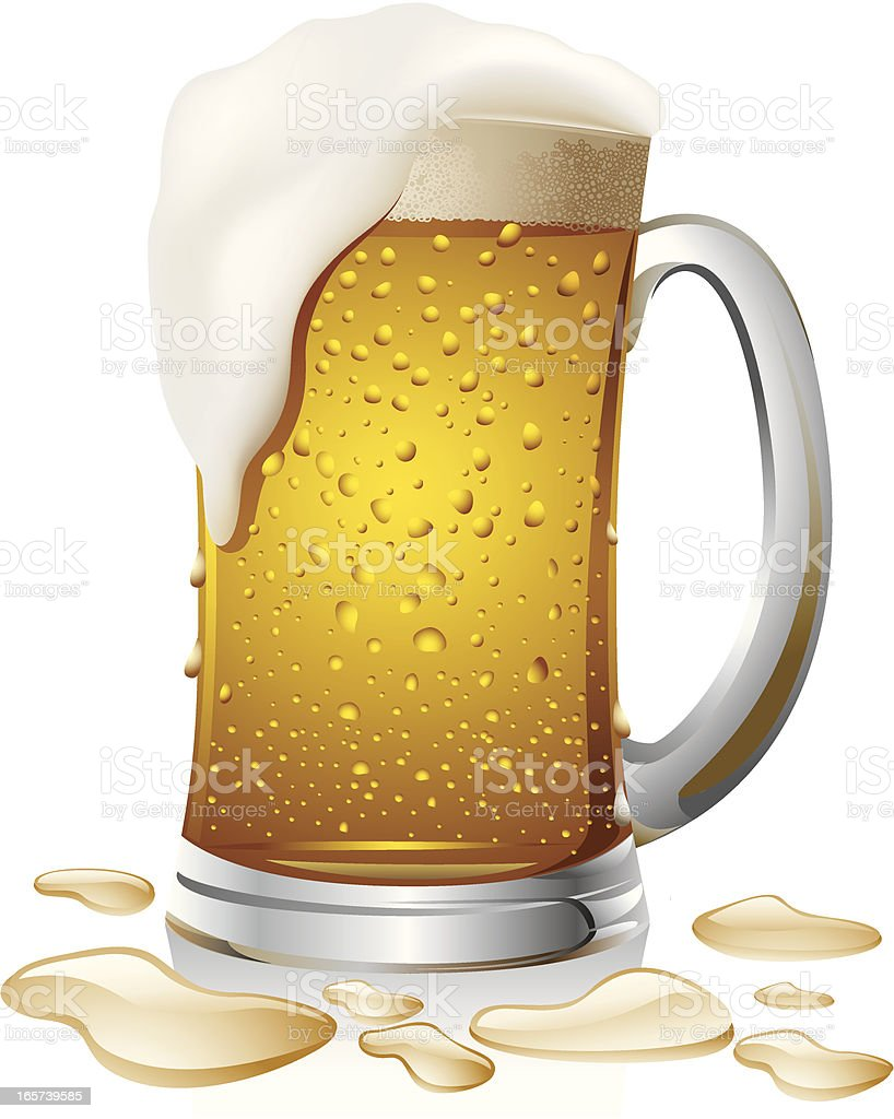 Graphic of an overflowing beer stein with frothy head vector art illustration