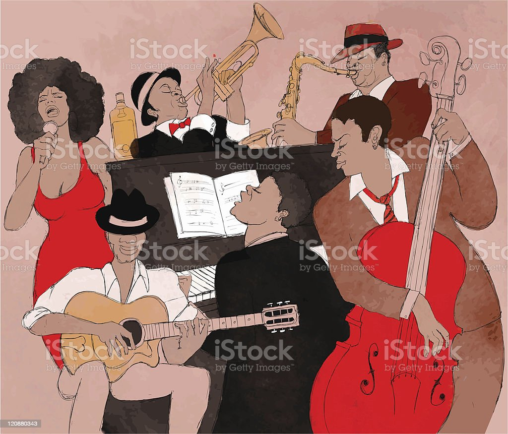 Graphic of black New Orleans style 6-person jazz band vector art illustration