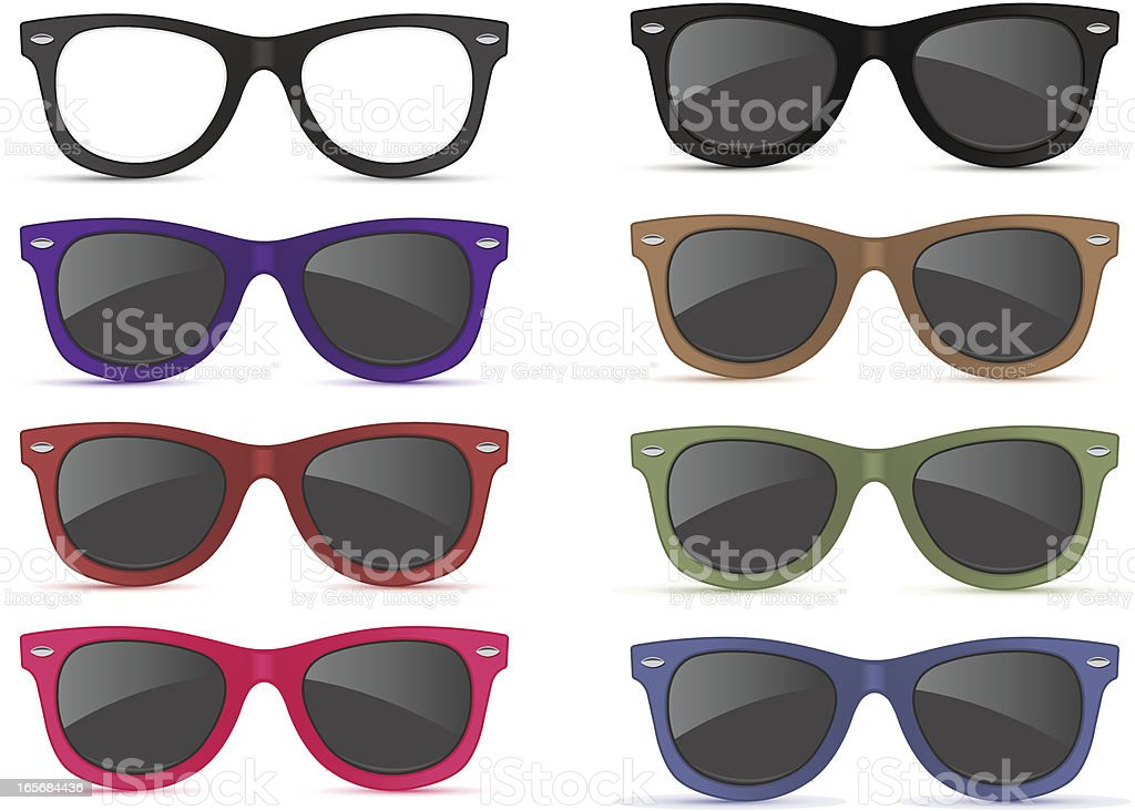 Graphic of different colors sunglasses vector art illustration