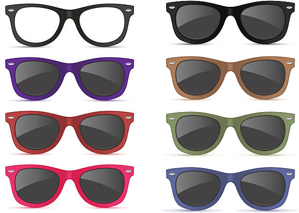 graphic of different colors sunglasses - sunglasses stock illustrations, clip art, cartoons, & icons