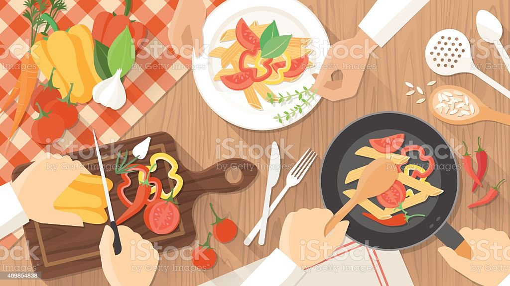 Graphic of food being prepared and served on a wooden table vector art illustration
