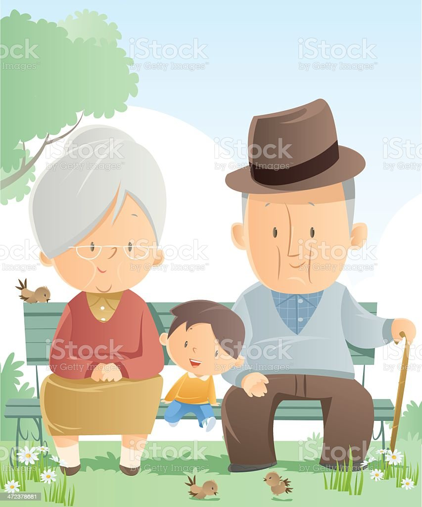Graphic of grandparents and grandson sitting on a park bench vector art illustration