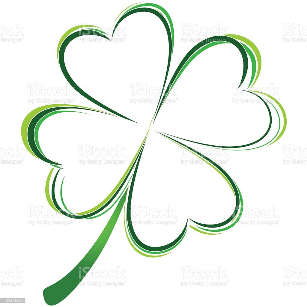 Graphic of green four leafed clover vector art illustration