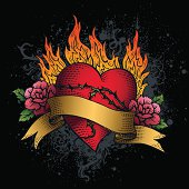 A colorful illustration of a red heart with flowers and banner placed over flames.  The red heart has black etchings along the surface.  On each side of the heart are two pink roses with two green leaves.  The thorns of the roses stretch across the heart and tangle with one another.  On top of the heart is a tan colored banner with no words.  The flames behind the heart are yellow-orange towards the bottom and gradually fade into a red-orange at the tips.  Behind the image are gray spirally splatters and a black background.
