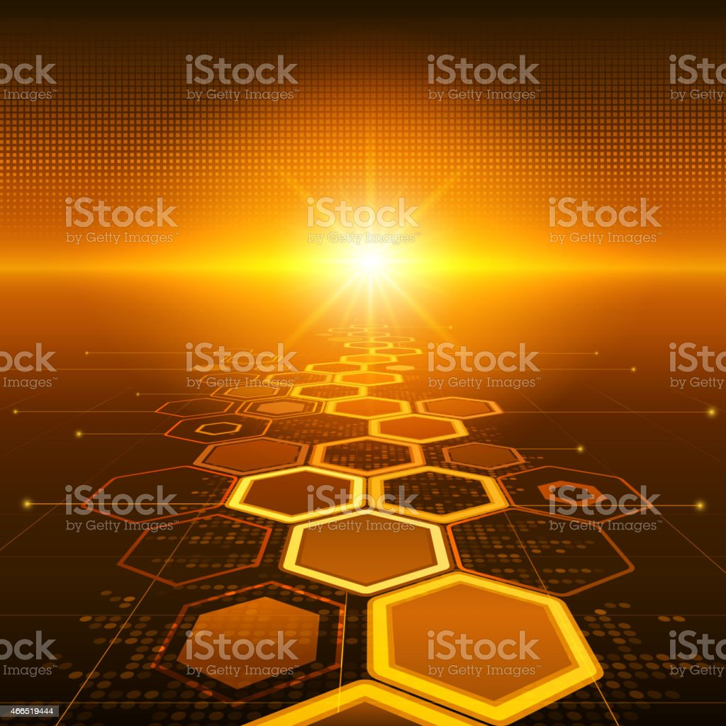 Graphic of honey comb technology as a sunset vector art illustration