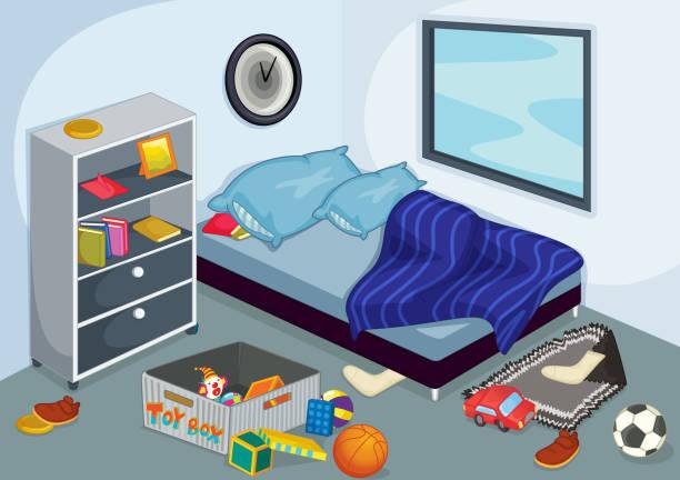 schlafzimmer innenansicht - bodenbetten stock-grafiken, -clipart, -cartoons und -symbole