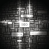 Graphic of many words in boxes relating to SEO