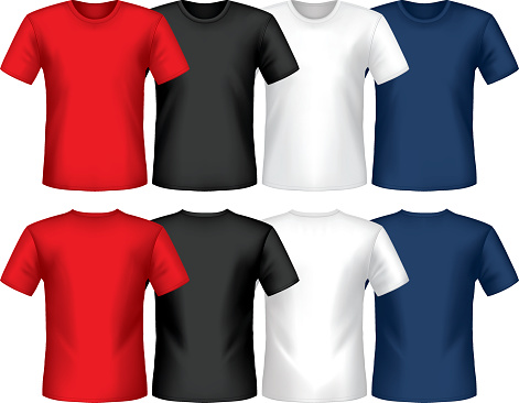 Graphic of multicolored crew neck t-shirts