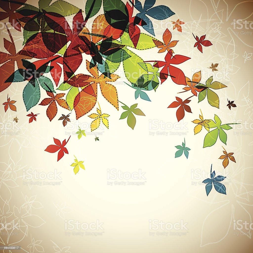 Graphic of multicolored falling autumn leaves royalty-free stock vector art