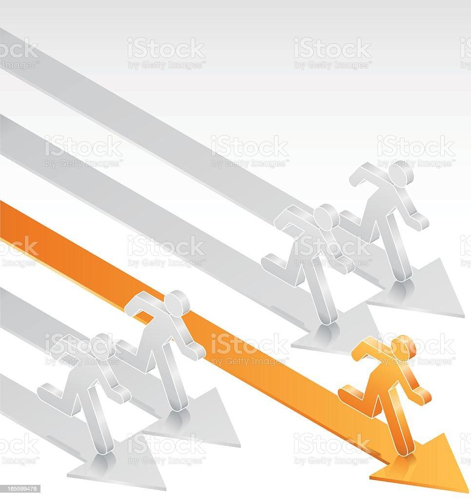 Graphic of orange figure winning a five-man race royalty-free graphic of orange figure winning a fiveman race stock vector art & more images of achievement