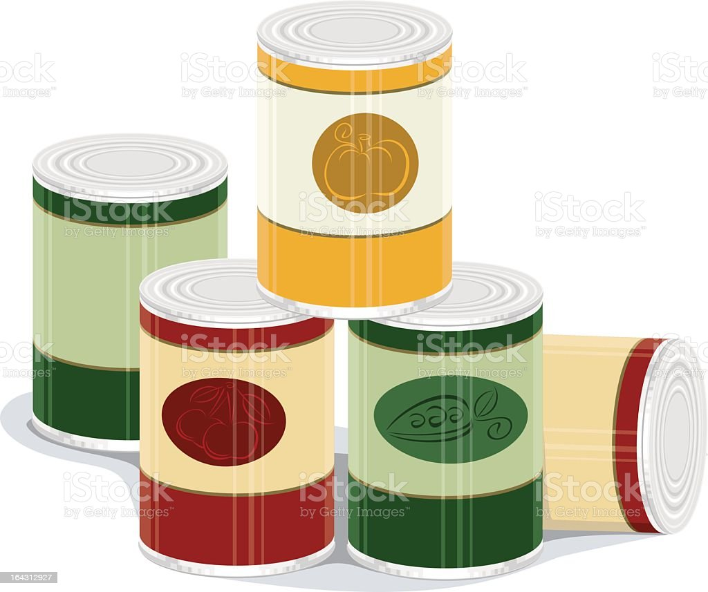Graphic of pile of canned goods vector art illustration