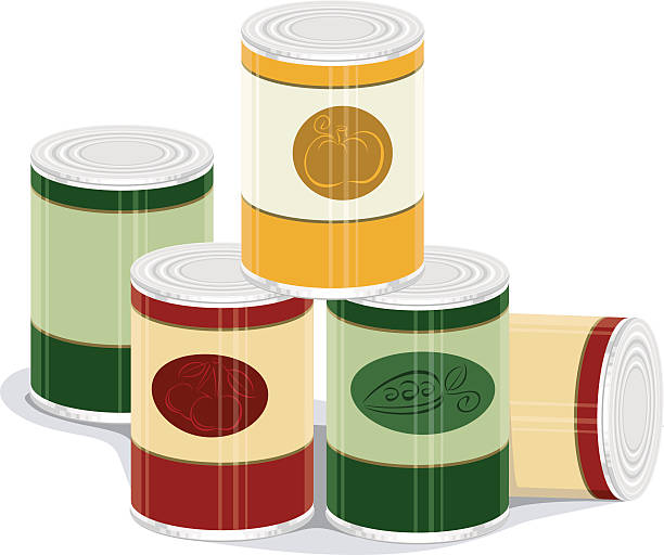 Graphic of pile of canned goods a vector illustration of several canned foods food drive stock illustrations
