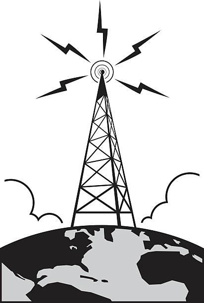 illustrations, cliparts, dessins animés et icônes de tour de la radio - transmission