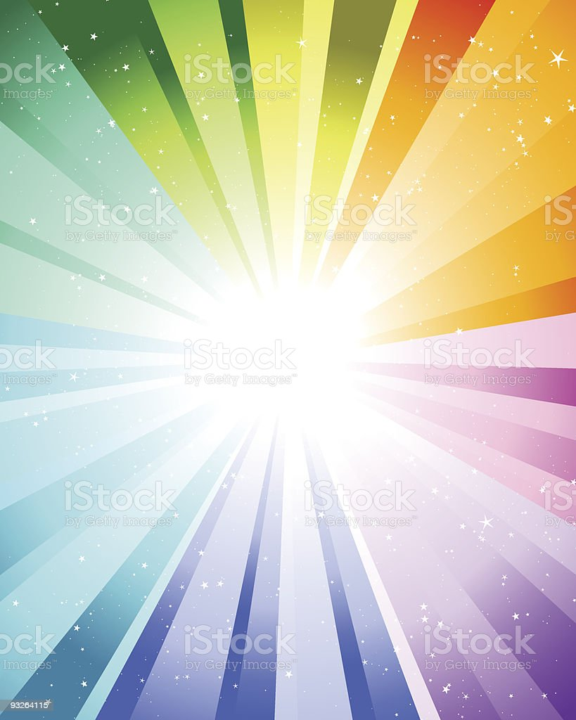 Graphic of rays of color coming out of a bright white light vector art illustration