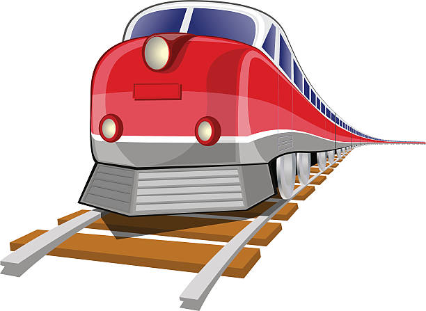 Graphic of red train on wooden tracks vector art illustration