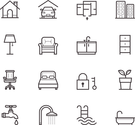 Graphic of simple house and real estate icons