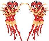 Dancing showgirls.
