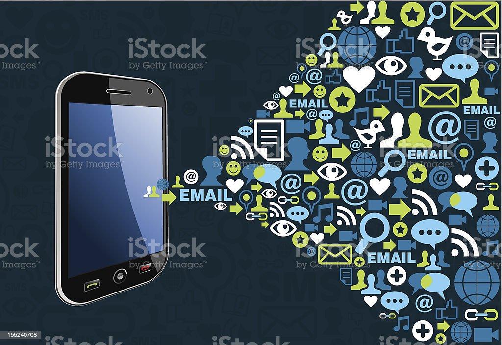 Graphic of smart phone emitting symbols of social media vector art illustration