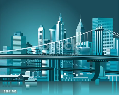 Brooklyn Bridge and Manhattan skyline. Vector illustration.