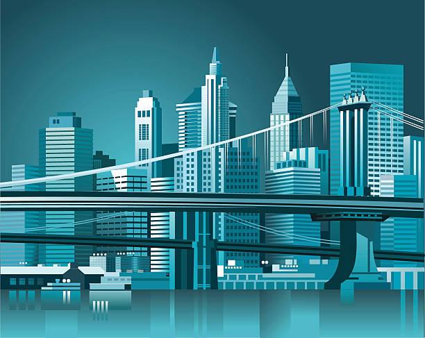 бруклинский мост и манхэттен - иллюстрации на тему туристические направления stock illustrations