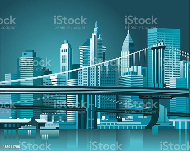 Graphic Of The Brooklyn Bridge And Manhattan Skyline Stockvectorkunst en meer beelden van Brooklyn - New York