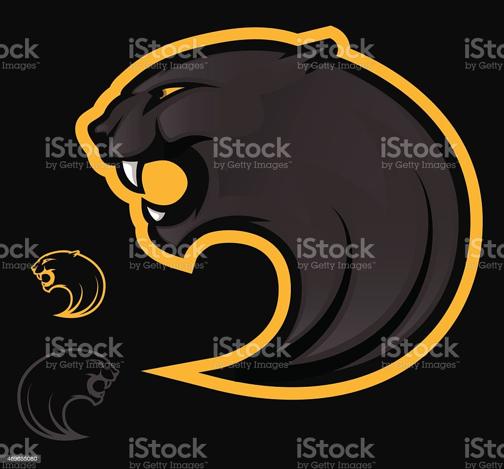 Graphic of three black and white panther logos vector art illustration