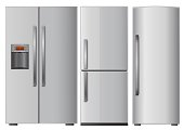 Graphic of three different refrigerators on white background