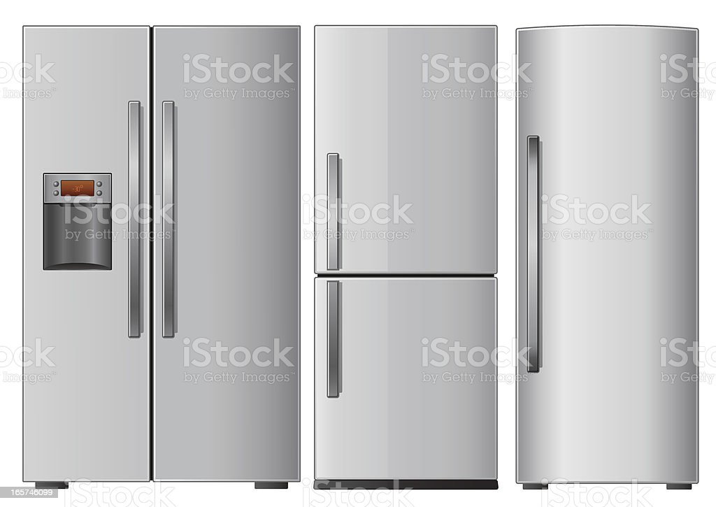 Graphic of three different refrigerators on white background vector art illustration