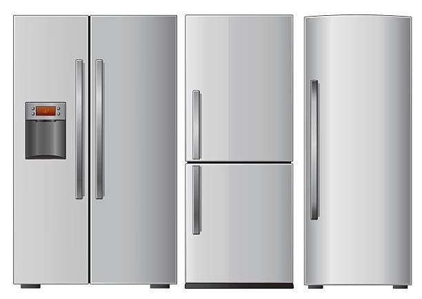 Graphic of three different refrigerators on white background Three domestic metallic refrigerators. Vector illustration. refrigerator stock illustrations